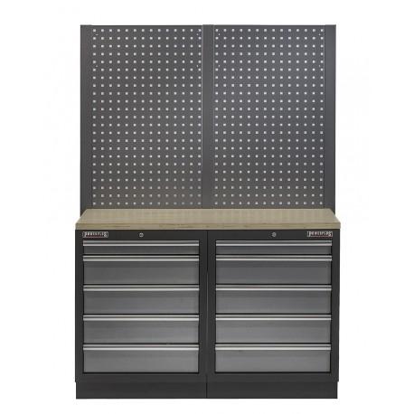 Werkbank set met multiplex werkblad, gereedschapsbord en 10 laden - 136 x 46 x 94,5 / 199,5 cm.