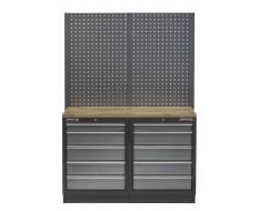 Werkbank set met hardhouten werkblad, gereedschapsbord en 10 laden - 136 x 46 x 94,5 / 199,5 cm.
