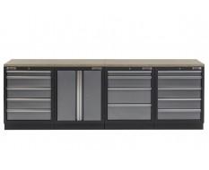 Werkbank set met multiplex werkblad, gereedschapskast - 14 laden - 272 x 46 x 94,5 cm