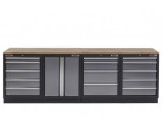 Werkbank set met hardhouten werkblad, gereedschapskast - 14 laden - 272 x 46 x 94,5 cm