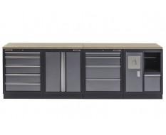 Werkbank set met multiplex werkblad, gereedschapskast, afvalbak - 10 laden - 272 x 46 x 94,5 cm.
