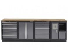 Werkbank set met hardhouten werkblad, gereedschapskast, afvalbak - 10 laden - 272 x 46 x 94,5 cm