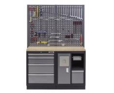 Werkbank set met multiplex werkblad, gereedschapsbord, afvalbak en 5 laden - 136 x 46 x 94,5 / 199,5 cm.