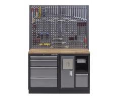 Werkbank set met hardhouten werkblad, gereedschapsbord, afvalbak en 5 laden - 136 x 46 x 94,5 / 199,5 cm.