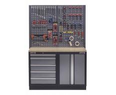 Werkbank set met multiplex werkblad, gereedschapskast, gereedschapsbord - 5 laden - 136 x 46 x 94,5 / 199,5 cm