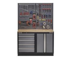 Werkbank set met hardhouten werkblad, gereedschapskast, gereedschapsbord - 5 laden - 136 x 46 x 94,5 / 199,5 cm