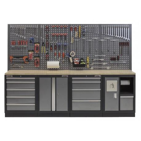Werkplaatsinrichting, Werkbank set multiplex blad, gereedschapskast, gereedschapsbord - 10 laden - 272 x 46 x 94,5 / 199,5 cm