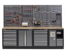 Werkbank set met hardhouten werkblad, gereedschapskast, afvalbak, gereedschapsbord - 10 laden - 272 x 46 x 94,5 / 199,5 cm