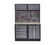 Werkbank set met multiplex blad, gereedschapskast, gereedschapsbord 2 x hangkast - 5 laden - 136 x 46 x 94,5 / 199,5 cm