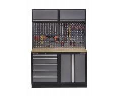 Werkbank set met hardhouten blad, gereedschapskast, gereedschapsbord 2 x hangkast - 5 laden - 136 x 46 x 94,5 / 199,5 cm