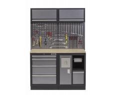 Werkbank set met multiplex blad, gereedschapsbord 2 x hangkast, afvalbak - 5 laden - 136 x 46 x 94,5 / 199,5 cm