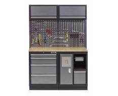 Werkbank met hardhouten werkblad, gereedschapsbord met bovenkasten, afvalbak en 4 laden - 136 cm