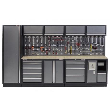 Werkbank set multiplex blad, gereedschapskast, afvalbak, gereedschapsbord, 4 hangkasten - 10 laden - 332 x 200 cm