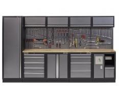 Werkbank set met hardhouten blad, gereedschapskast, afvalbak, gereedschapsbord, 4 hangkasten - 10 laden - 332 x 200 cm