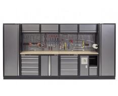 Complete Werkplaatsinrichting, werkbank multiplex blad, gereedschapskast, gereedschapsbord, 4 x hangkast,10 laden - 392 x 200 cm