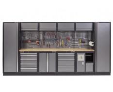 Complete Werkplaatsinrichting, werkbank houten blad, gereedschapskast, gereedschapsbord, 4 x hangkast,10 laden, 392 x 200 cm.