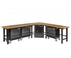 Werkplaatsinrichting - Hoek werkbank 310 cm x 260 cm zwart - hardhouten blad, werkplaatskast - 3 x gereedschapswagen