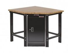 Werkbank hoekstuk met werkplaatskast - hoekopstelling - Hoek werkbank zwart met hardhouten blad