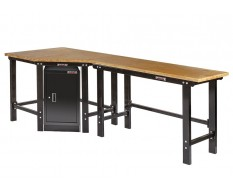 Werkbank hoekopstelling met werkplaatskast - Hoek werkbank 260 cm lang zwart met hardhouten blad