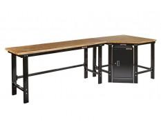 Werkbank hoekopstelling met werkplaatskast - Hoek werkbank 310 cm. lang zwart met hardhouten blad