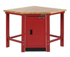 Werkbank hoekstuk met werkplaatskast - hoekopstelling - Hoek werkbank rood met hardhouten blad