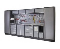 Complete Werkplaatsinrichting, werkbank met metaal omkleed blad, gereedschapskast, gereedschapsbord, 10 laden, 392 x 200 cm.