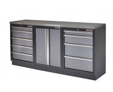 Werkbank set met metaal omkleed blad, werkplaatskast en 9 laden - 204 x 46 x 94,6 cm