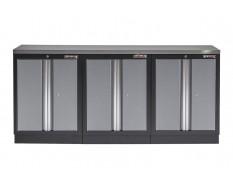 Werkbank set met metaal omkleed blad en 3 werkplaatskasten - 204 x 46 x 94,6 cm