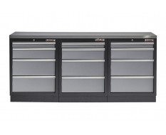 Werkbank set met metaal omkleed blad - 12 laden - 204 x 46 x 94,6 cm
