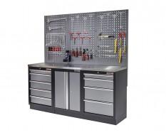 Werkbank set met metaal omkleed blad, werkplaatskast, gereedschapsbord en 9 laden - 204 x 46 x 94,6 cm