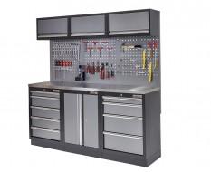 Werkbank set met metaal omkleed blad, werkplaatskast, gereedschapsbord, 3 x hangkast en 9 laden - 204 x 46 x 94,6 cm