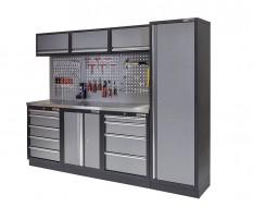 Werkbank set met metaal omkleed blad, werkplaatskast, gereedschapsbord, hoge kast, 3 x hangkast en 9 laden - 204 x 46 x 94,6 cm