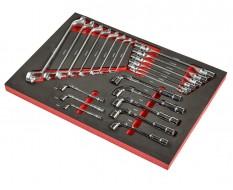 Ringsleutel-, kniesleutel- en olieleidingsleutelset 22 delen - soft mat