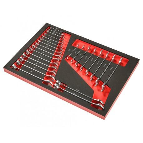 Steek-ringsleutel- en steeksleutelset 25 delen - soft mat