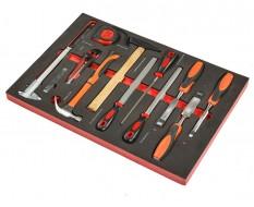 Houtbeitel – hamer – meetlint – houtvijl – schuifmaat set 13 delen - soft mat