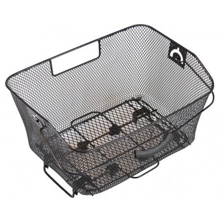 Fietsmand (achterop) afneembaar met veersysteem voor bagagedrager - 40 x 28,5 x 19 cm - fijnmazig