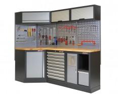Complete werkplaatsinrichting, werkbank + hoekstuk met hardhouten blad, gereedschapskast gevuld met gereedschap, 223 x 200 cm.