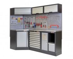 Complete werkplaatsinrichting, werkbank + hoekstuk met metaal omkleed blad, gereedschapskast gevuld met gereedschap,223X200 cm